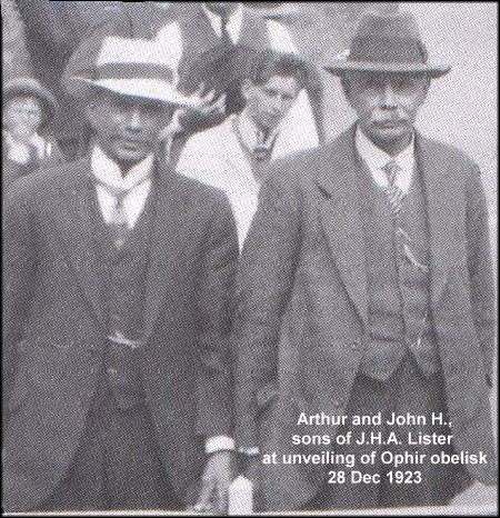 Arthur and John H., sons of J.H.A. Lister, unveil obelisk, 1923